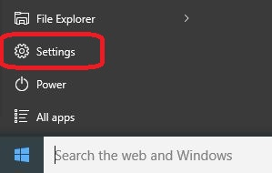 Windows Start and Settings menu
